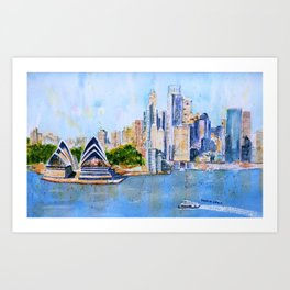 Colorful Sydney Harbor Art Print