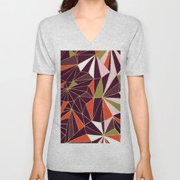 New Art Deco Geometric Pattern - Burgundi and Pink #deco #buyart Unisex V-Neck
