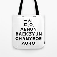 "exo Tote Bags featuring EXO K- Hangeul: ""Love City"" Inspired by 00yu"