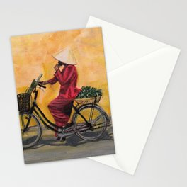 Hanoi cyclist Stationery Cards