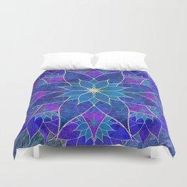 Lotus 2 - blue and purple Duvet Cover