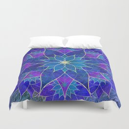 Lotus 2 - blue and purple Duvet Cover