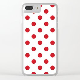 Polka Dots - Fire Engine Red on White Clear iPhone Case