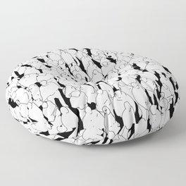 Public assembly B&W / Lineart people pattern Floor Pillow