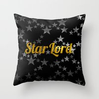 star lord Throw Pillows featuring Golden Star Lord by foreverwars
