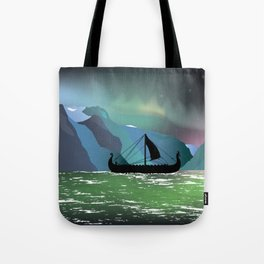 Viking Boat at Norwegian Fjord Tote Bag