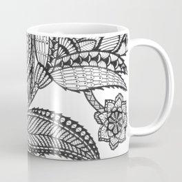 Black floral doodle bliss Coffee Mug