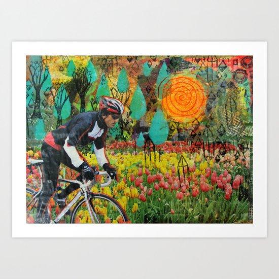 Through the Tulips Art Print