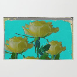 SHABBY CHIC TURQUOISE ANTIQUE IVORY YELLOW ROSE GARDEN Rug