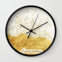 Lausanne Map Gold Wall Clock