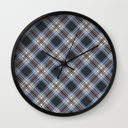 Tartan blue brown , black Wall Clock