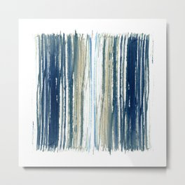Indigo Blue and Beige Watercolor Stripes Metal Print