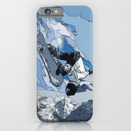 Ski over avalanche//snow mountain//Mountain Ski Landscape Blue and White sketch Vibes iPhone Case