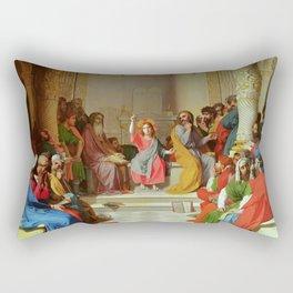 "Jean-Auguste-Dominique Ingres ""Jesus Among the Doctors"" Rectangular Pillow"