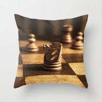 chess Throw Pillows featuring Chess by Janelle
