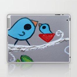 Mamma Bird - Blue on Grey Laptop & iPad Skin
