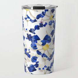 white daisies and blue cyclamens floral pattern Travel Mug