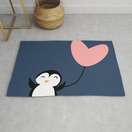 Penguin in love Blue Rug