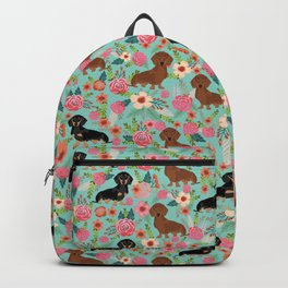Dachshund florals pattern cute dog gifts by pet friendly dog breeds mint Backpack