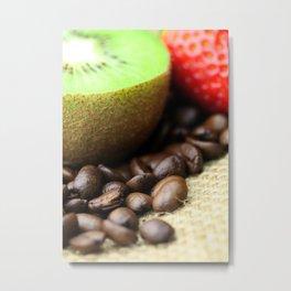Kaffeebohnen Kivi Erdbeere Coffee beans strawberry Metal Print