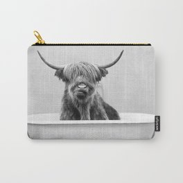 Highland Cow in a Vintage Bathtub (bw) Carry-All Pouch