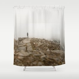 Person standing in fog on peak Shower Curtain