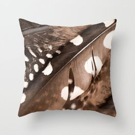 Beautiful Feathers On A Dark Brown Background #decor #society6 #buyart Throw Pillow