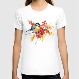 Great tit and berries T-shirt