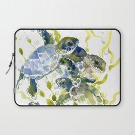 Turtle Baby Sea Turtles, underwater scene olive green, green indigo blue children Laptop Sleeve