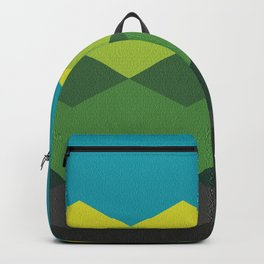 Abstract argyle pattern, mountain landscape - white, blue, yellow, green apple, green, olive green, brown, black Backpack