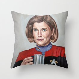 Captain Janeway - Portrait Painting Throw Pillow
