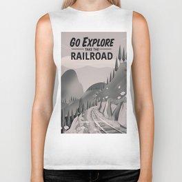 Take the Railroad ( black and white ) Biker Tank