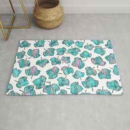 Modern pink teal watercolor maple leaves foliage Rug