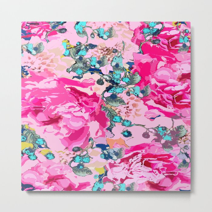 Pink floral work with some turquoise and yellow details Metal Print