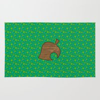 animal crossing Area & Throw Rugs featuring Animal Crossing Spring Grass by Rebekhaart