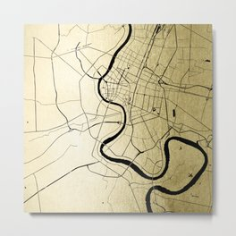 Bangkok Thailand Minimal Street Map - Gold Metallic and Black Metal Print