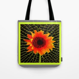 Organic Red Sunflower Grey-Lime Patterned Art Tote Bag
