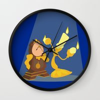 beauty and the beast Wall Clocks featuring Beauty and the Beast by TheWonderlander