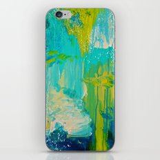 SEASIDE DREAMS - Beautiful Ocean Waves Teal Blue Turquoise Chartreuse Underwater Abstract Painting iPhone Skin