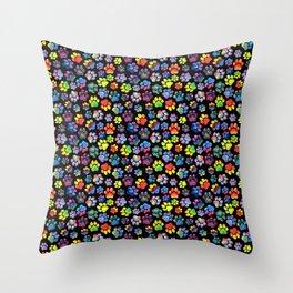 Rainbow Paw Print Watercolor Pattern Throw Pillow