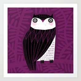 BLACK & WHITE OWL Art Print