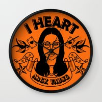 alex vause Wall Clocks featuring I heart Alex Vause Orange - OITNB inspired by Vague