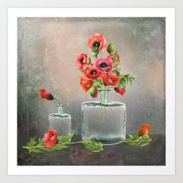 Bottled Red Poppies Art Print