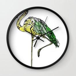 Yellow Flamingo Illustration Wall Clock