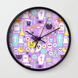 Pastel Purple Cute Halloween Pattern Wall Clock