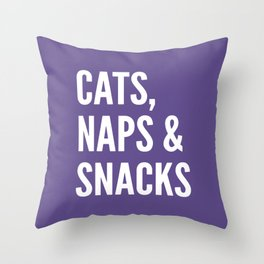 Cats, Naps & Snacks (Ultra Violet) Throw Pillow