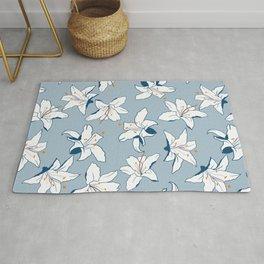Hygge Blue Exotic Flower Meadow Pattern Rug