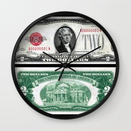 1928 Red Seal Jefferson Two Dollar Bill Bank Note Wall Clock