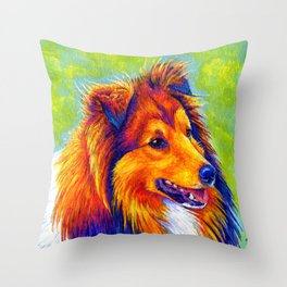 Colorful Shetland Sheepdog Throw Pillow