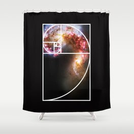 Fibonacci Spiral Galaxy Shower Curtain